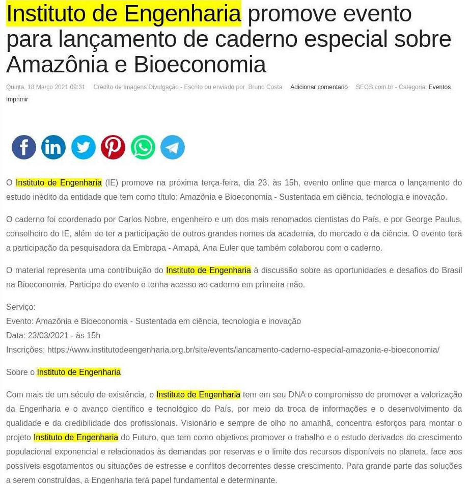 Instituto de Engenharia promove evento para lançamento de caderno especial sobre Amazônia e Bioeconomia - SEGS