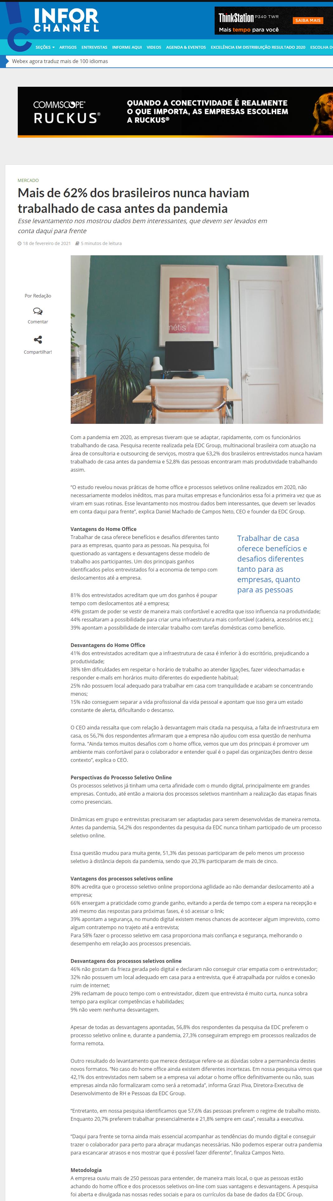 Mais de 62% dos brasileiros nunca haviam trabalhado de casa antes da pandemia - InforChannel