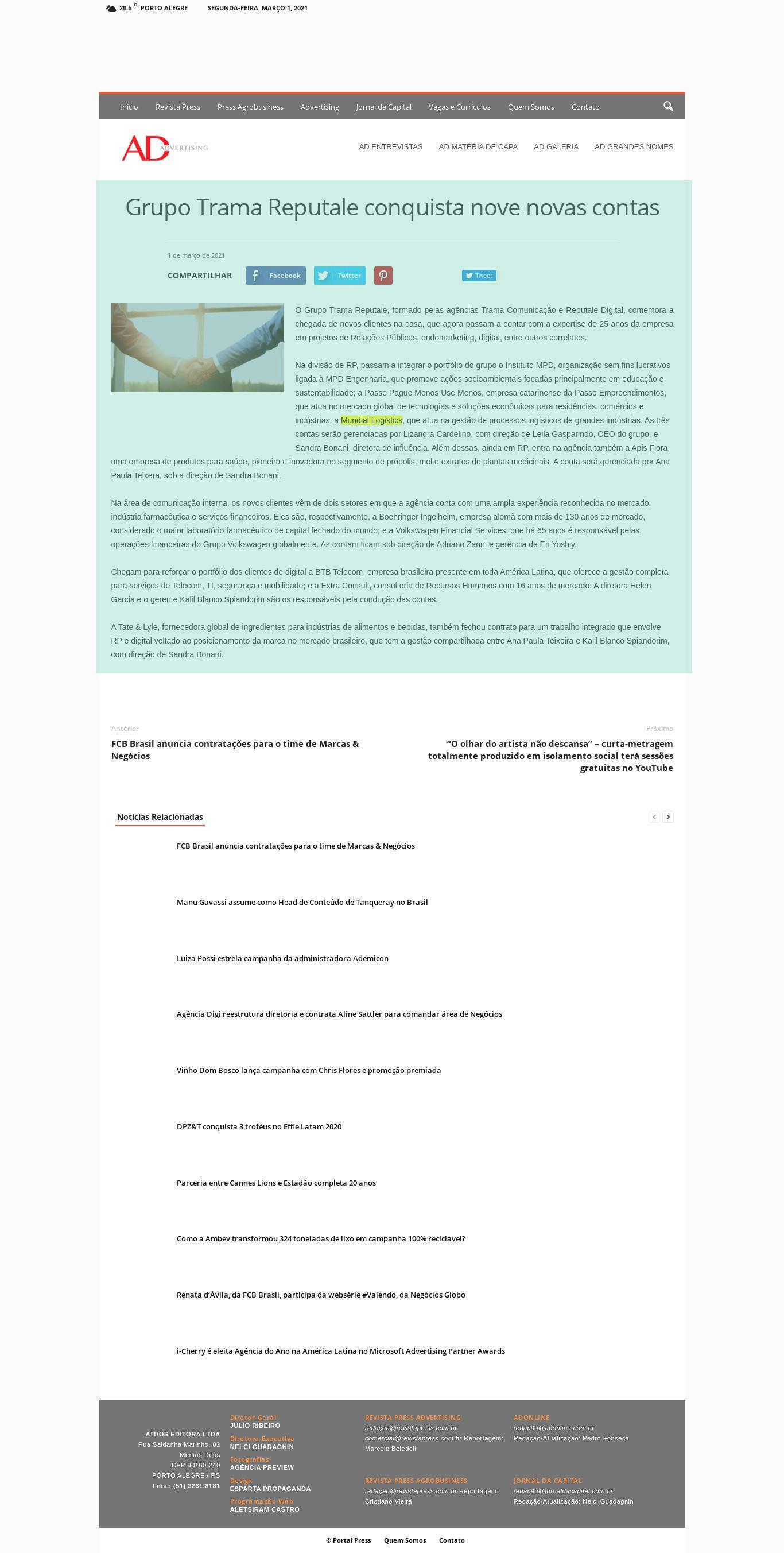 Grupo Trama Reputale conquista nove novas contas - Ad Online
