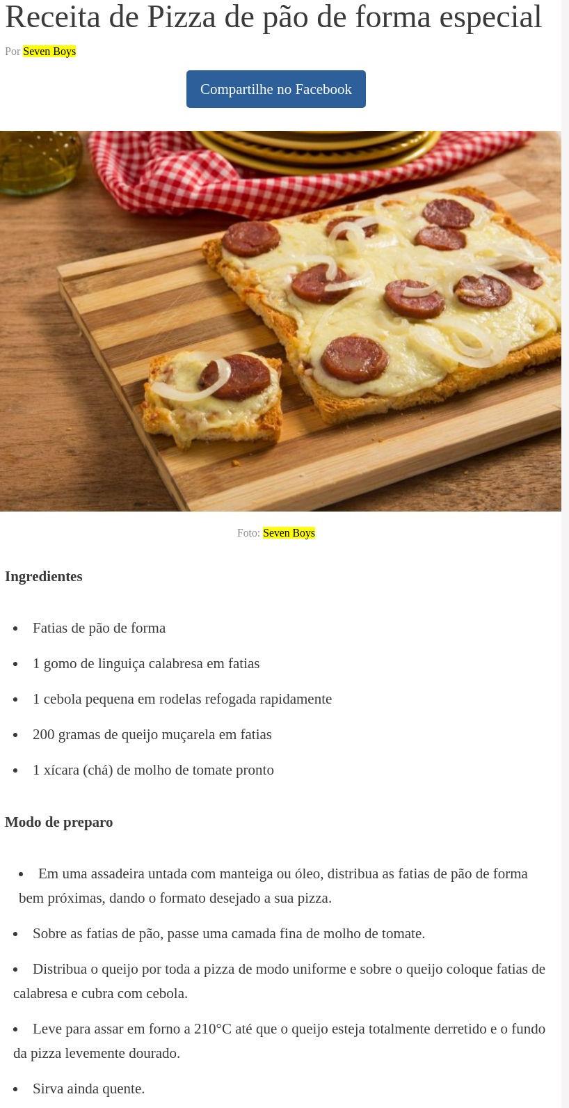 Receita de Pizza de pão de forma especial - Comida e Receitas