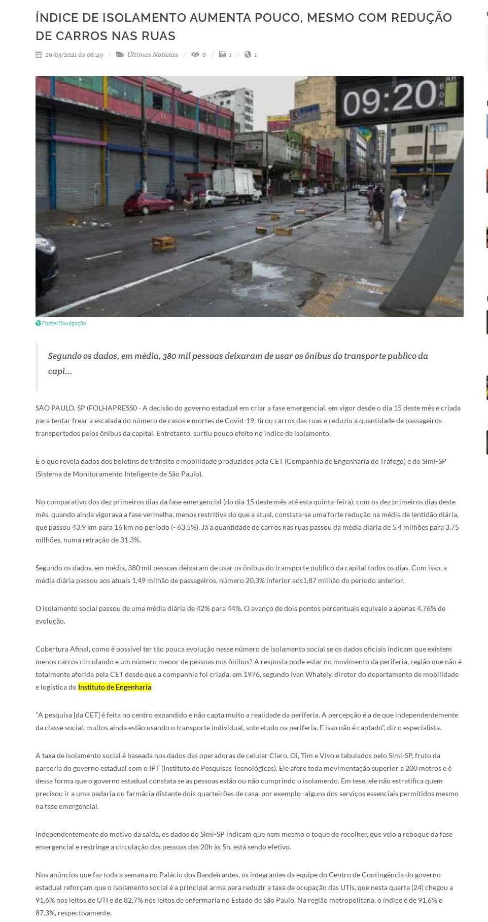 Índice de isolamento aumenta pouco, mesmo com redução de carros nas ruas - Nova Onda FM