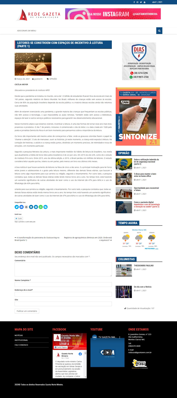 Leitores se controem em espaços de incentivo à leitura - Rede Gazeta de Comunicação