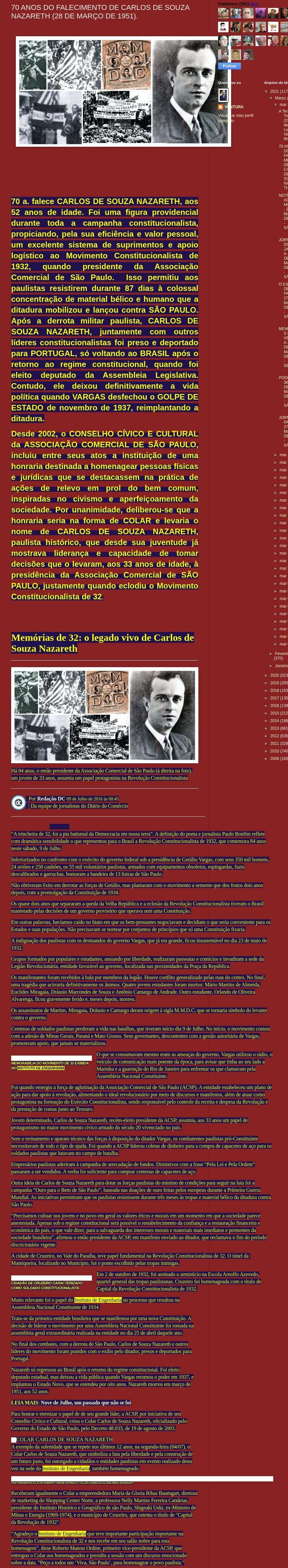 70 ANOS DO FALECIMENTO DE CARLOS DE SOUZA NAZARETH (28 DE MARÇO DE 1951) - Memórias do Ventura