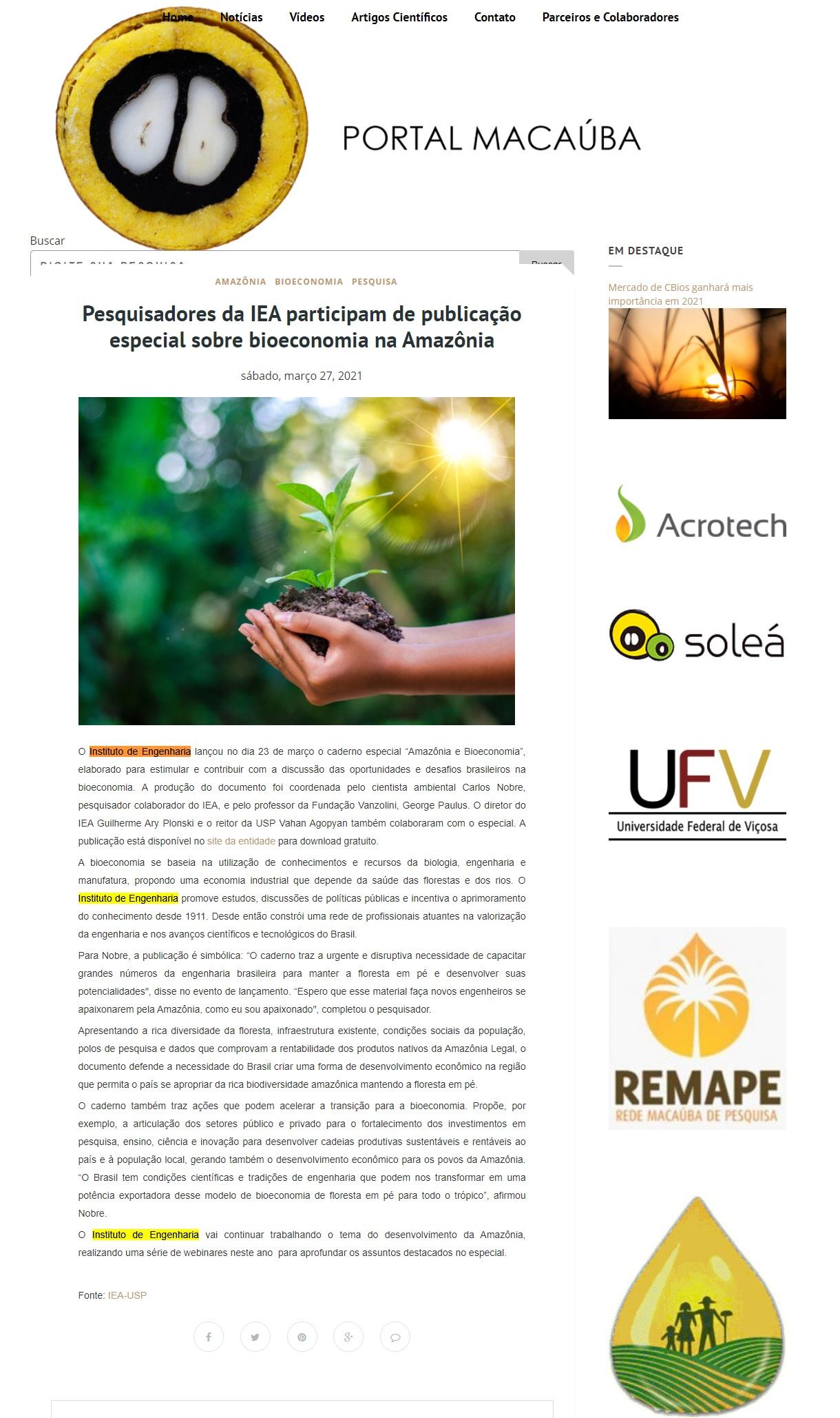 Pesquisadores da IEA participam de publicação especial sobre bioeconomia na Amazônia - Portal Macauba
