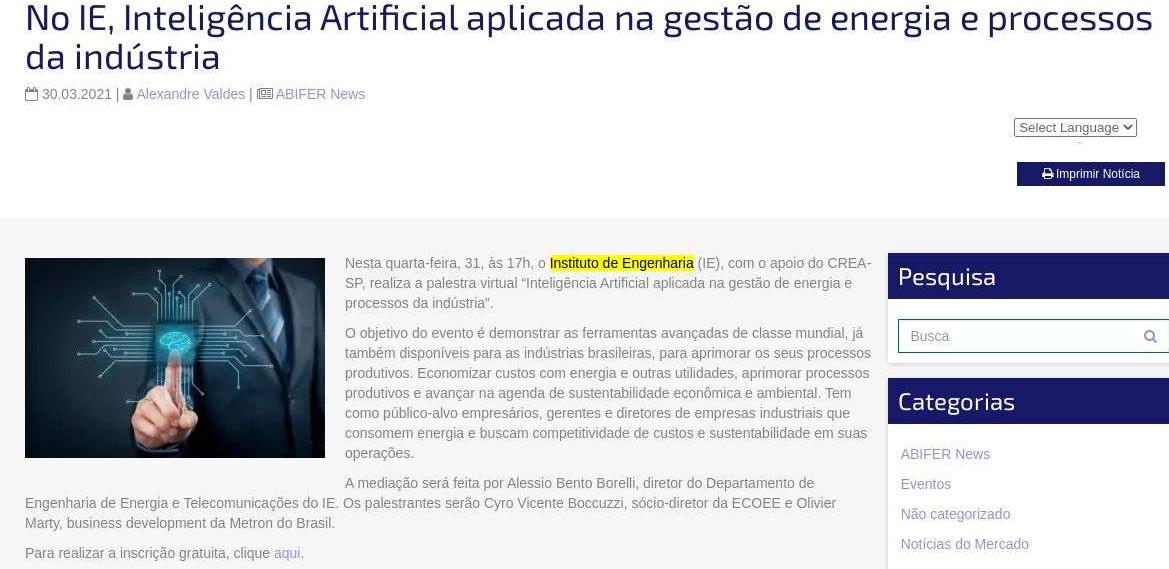 No IE, Inteligência Artificial aplicada na gestão de energia e processos da indústria - ABIFER