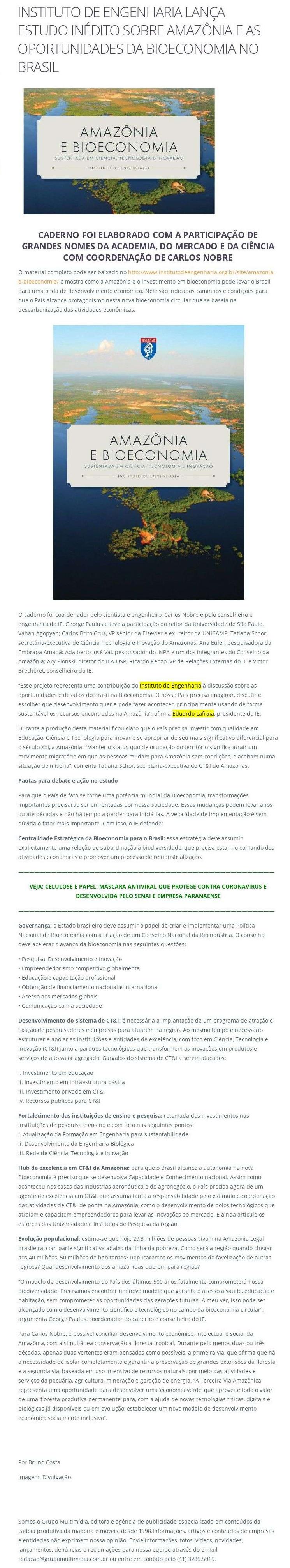 Instituto de Engenharia lança estudo inédito sobre Amazônia e as oportunidades da bioeconomia no Brasil - Madeira Total