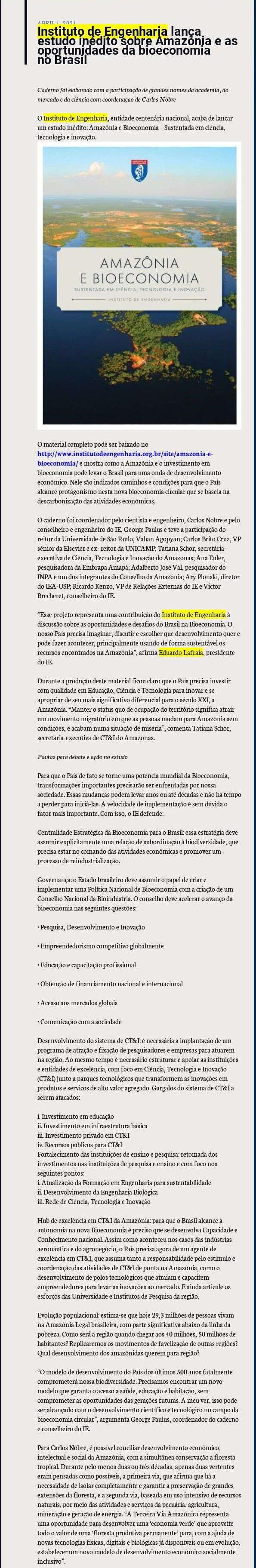 Instituto de Engenharia lança estudo inédito sobre Amazônia e as oportunidades da bioeconomia no Brasil - Blog do Pedlowski