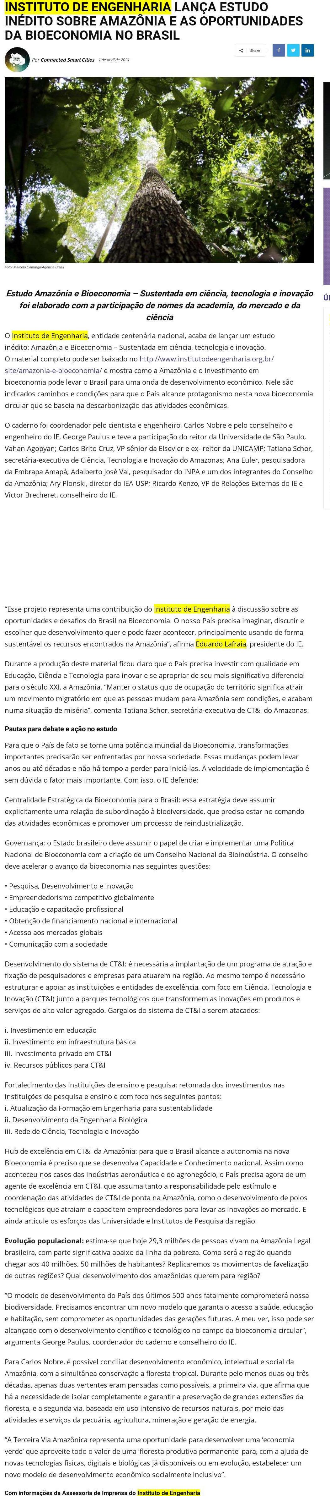 INSTITUTO DE ENGENHARIA LANÇA ESTUDO INÉDITO SOBRE AMAZÔNIA E AS OPORTUNIDADES DA BIOECONOMIA NO BRASIL - Connected Smart Cities