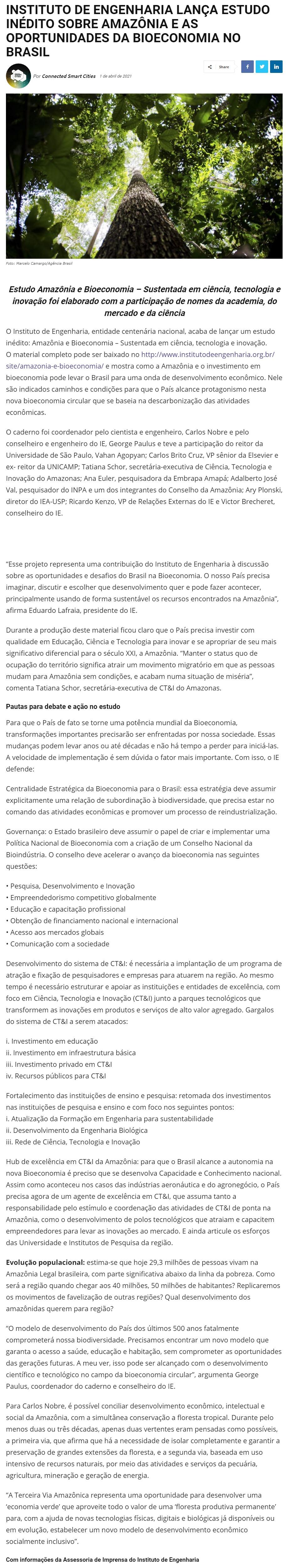 INSTITUTO DE ENGENHARIA LANÇA ESTUDO INÉDITO SOBRE AMAZÔNIA E AS OPORTUNIDADES DA BIOECONOMIA NO BRASIL - Cidades Inteligentes