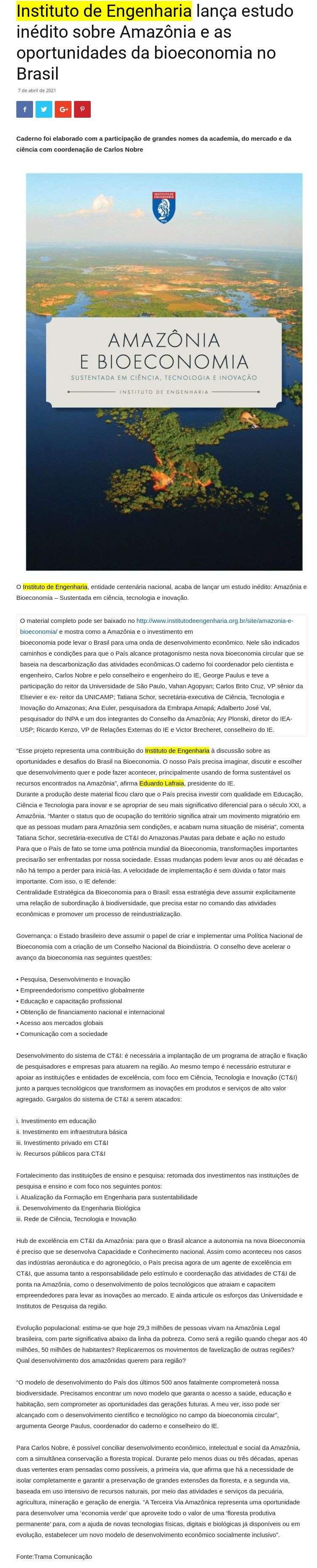 Instituto de Engenharia lança estudo inédito sobre Amazônia e as oportunidades da bioeconomia no Brasil - Jornal O Painel