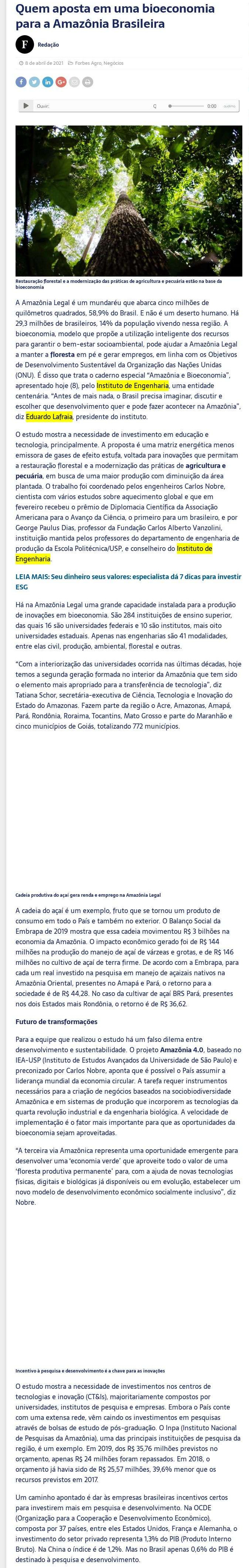 Quem aposta em uma bioeconomia para a Amazônia Brasileira - Forbes Brasil (IG)