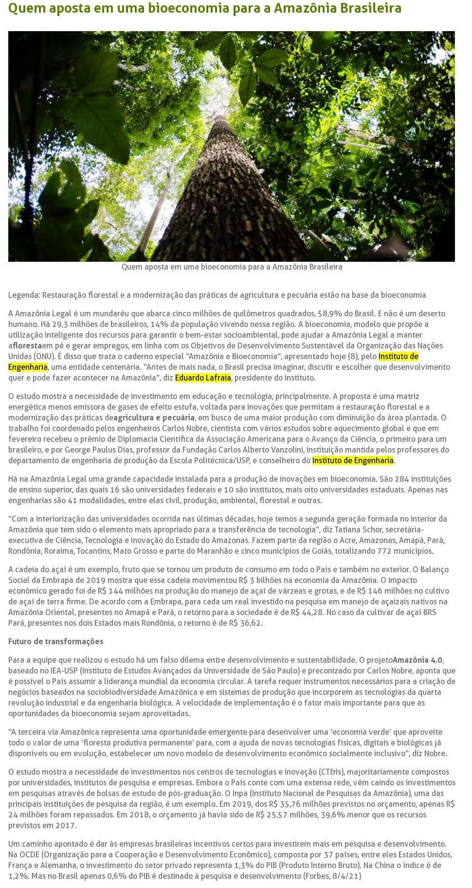 Quem aposta em uma bioeconomia para a Amazônia Brasileira - Brasil Agro