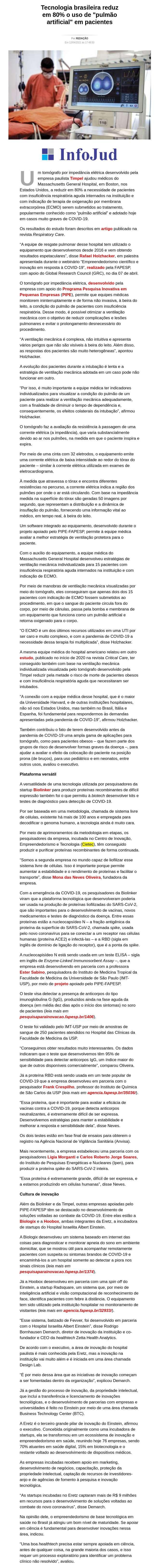Tecnologia brasileira reduz em 80% o uso de `pulmão artificial` em pacientes - BSB Notícias