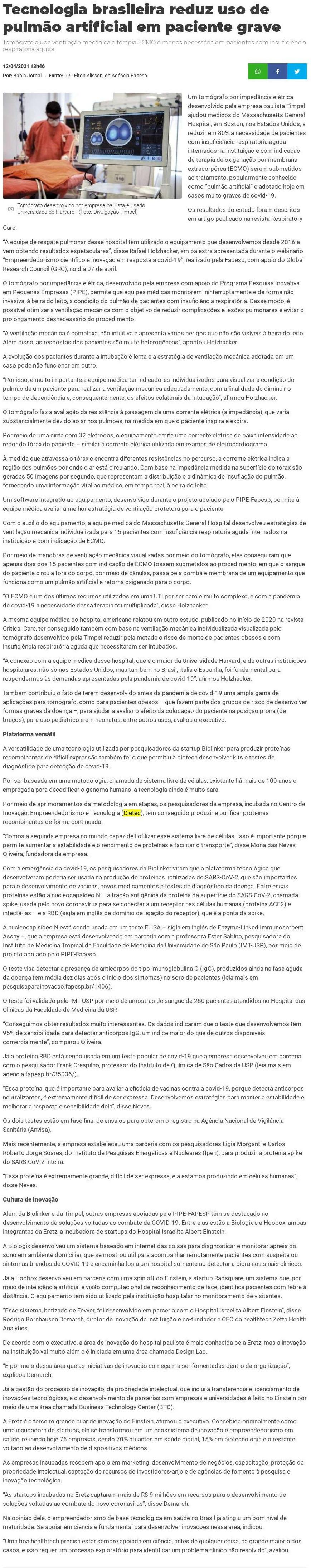 Tecnologia brasileira reduz uso de pulmão artificial em paciente grave - Bahia Jornal