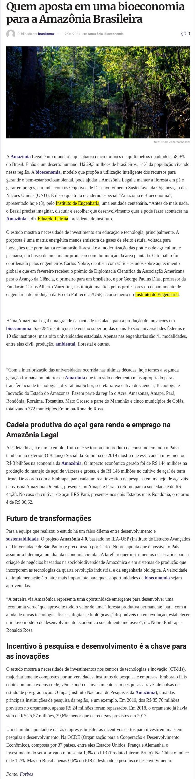 Quem aposta em uma bioeconomia para a Amazônia Brasileira - Brazil Amazônia Agora