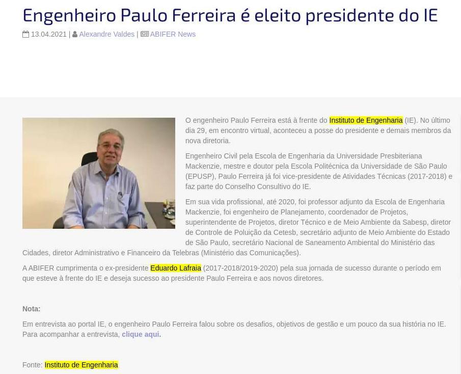 Engenheiro Paulo Ferreira é eleito presidente do IE - ABIFER