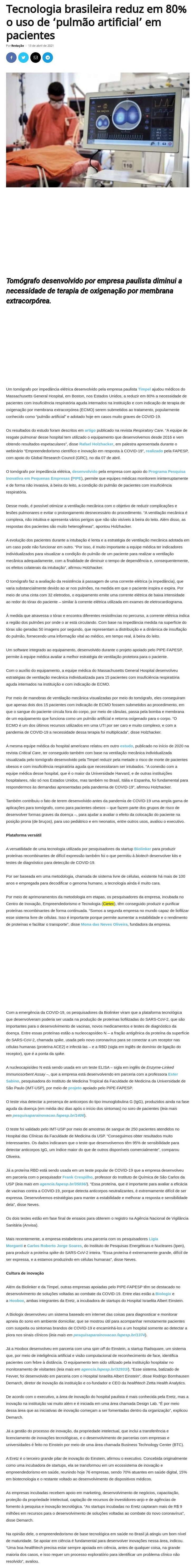Tecnologia brasileira reduz em 80% o uso de `pulmão artificial` em pacientes - Beto Ribeiro Repórter