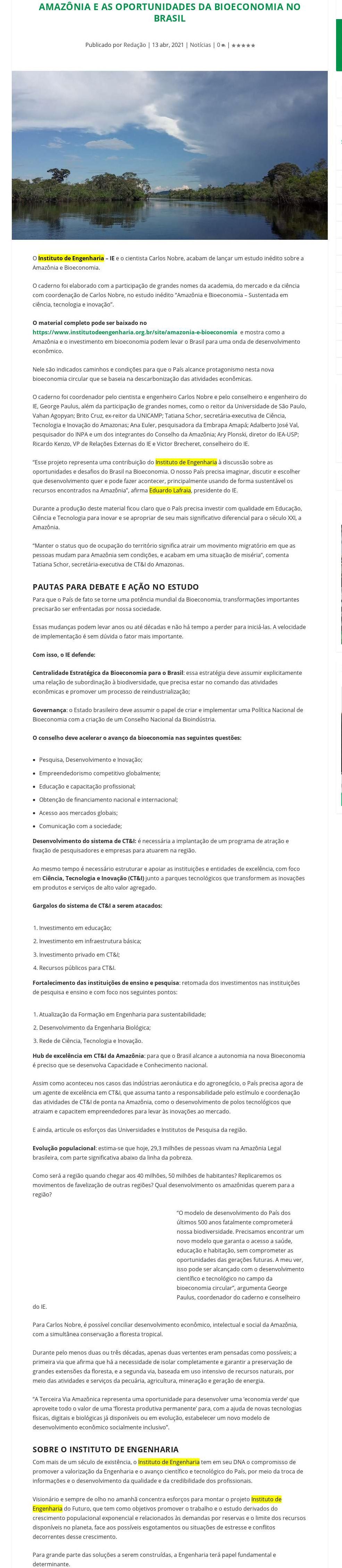 Amazônia e as oportunidades da Bioeconomia no Brasil - Revista Preven