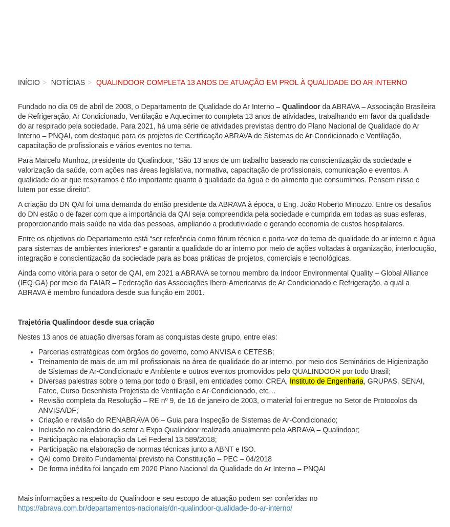 Qualindoor completa 13 anos de atuação em prol à Qualidade do Ar Interno - Abrava