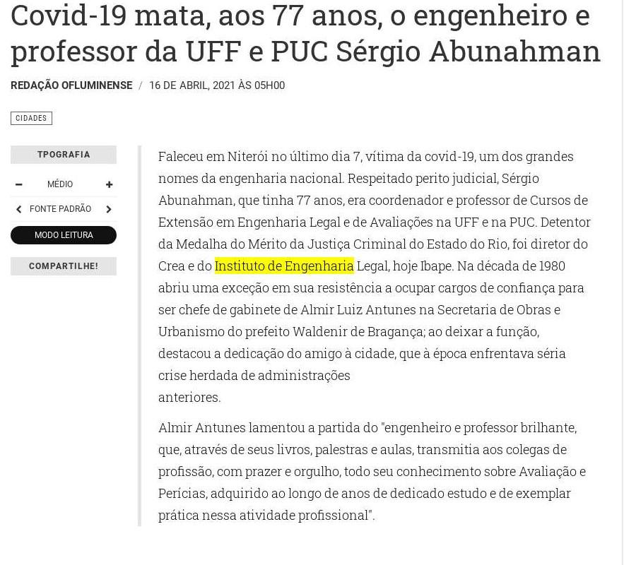 Covid-19 mata, aos 77 anos, o engenheiro e professor da UFF e PUC Sérgio Abunahman - O Fluminense