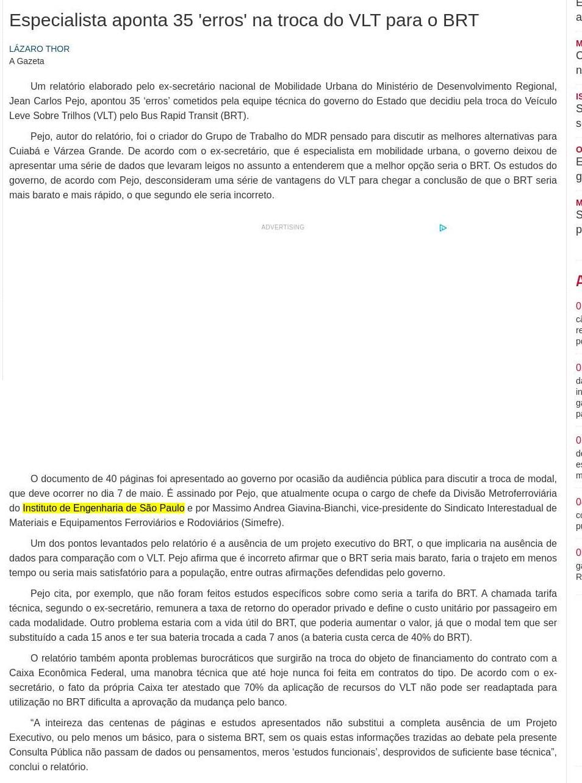 Especialista aponta 35 `erros` na troca do VLT para o BRT - Folha Max