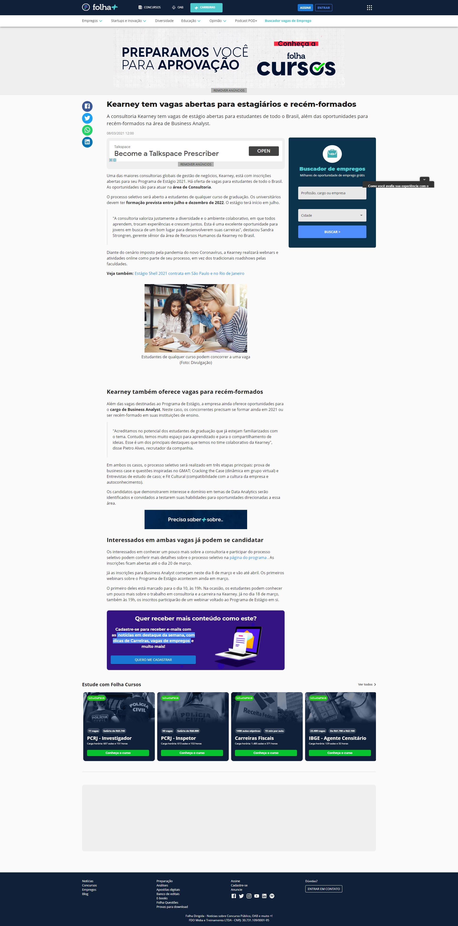 Kearney tem vagas abertas para estagiários e recém-formados - Folha Dirigida (On-line)