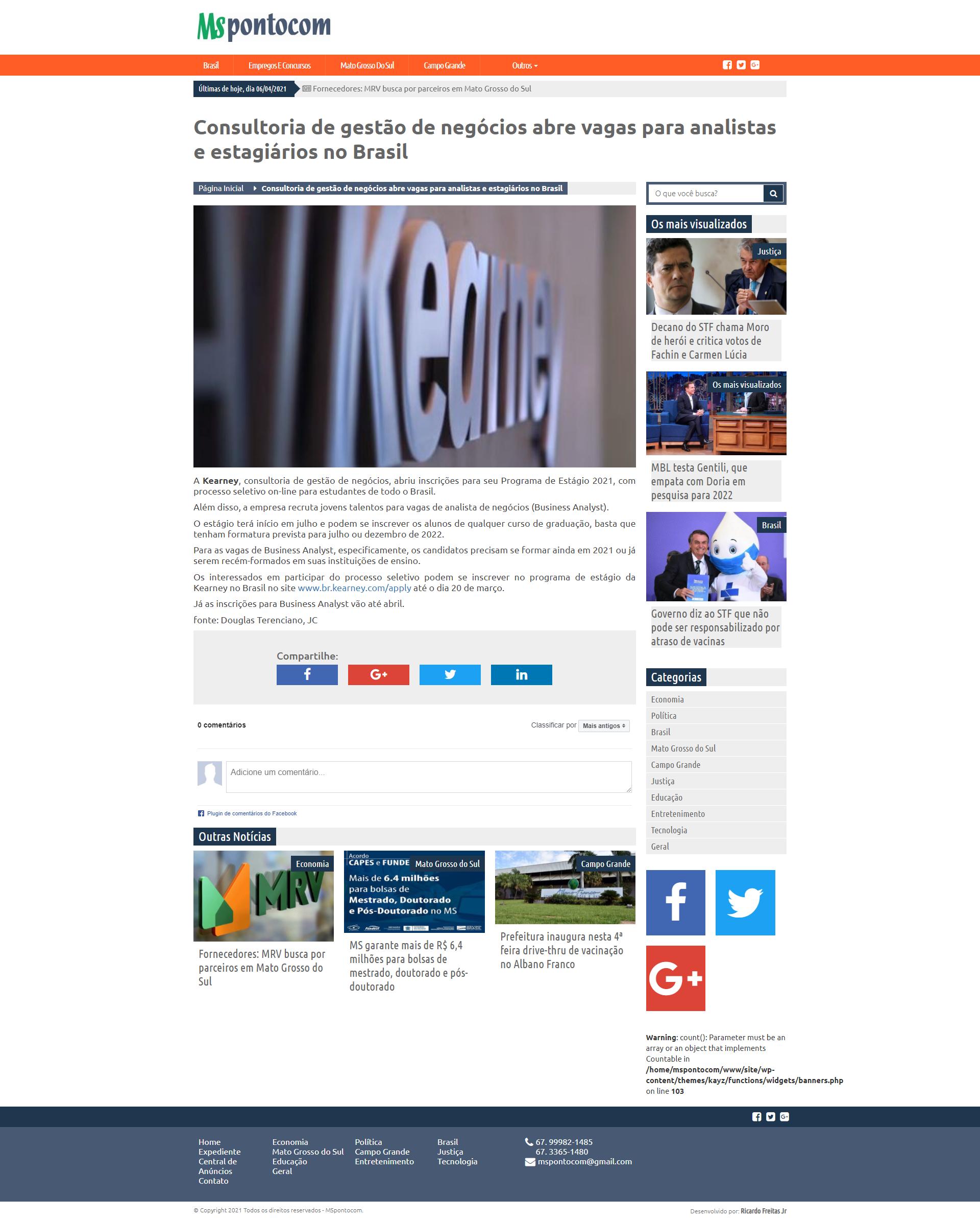 Consultoria de gestão de negócios abre vagas para analistas e estagiários no Brasil - MS Ponto Com