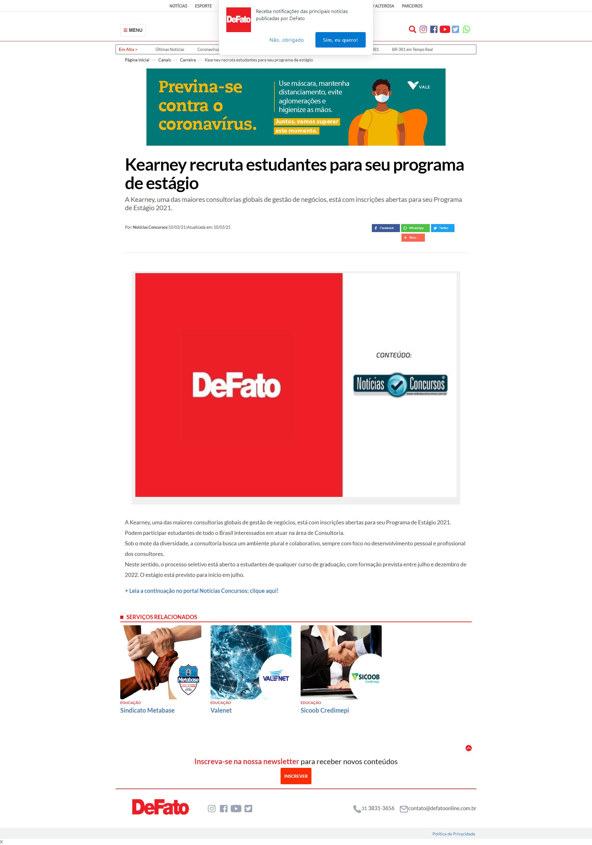 Kearney recruta estudantes para seu programa de estágio - De Fato (On-line)