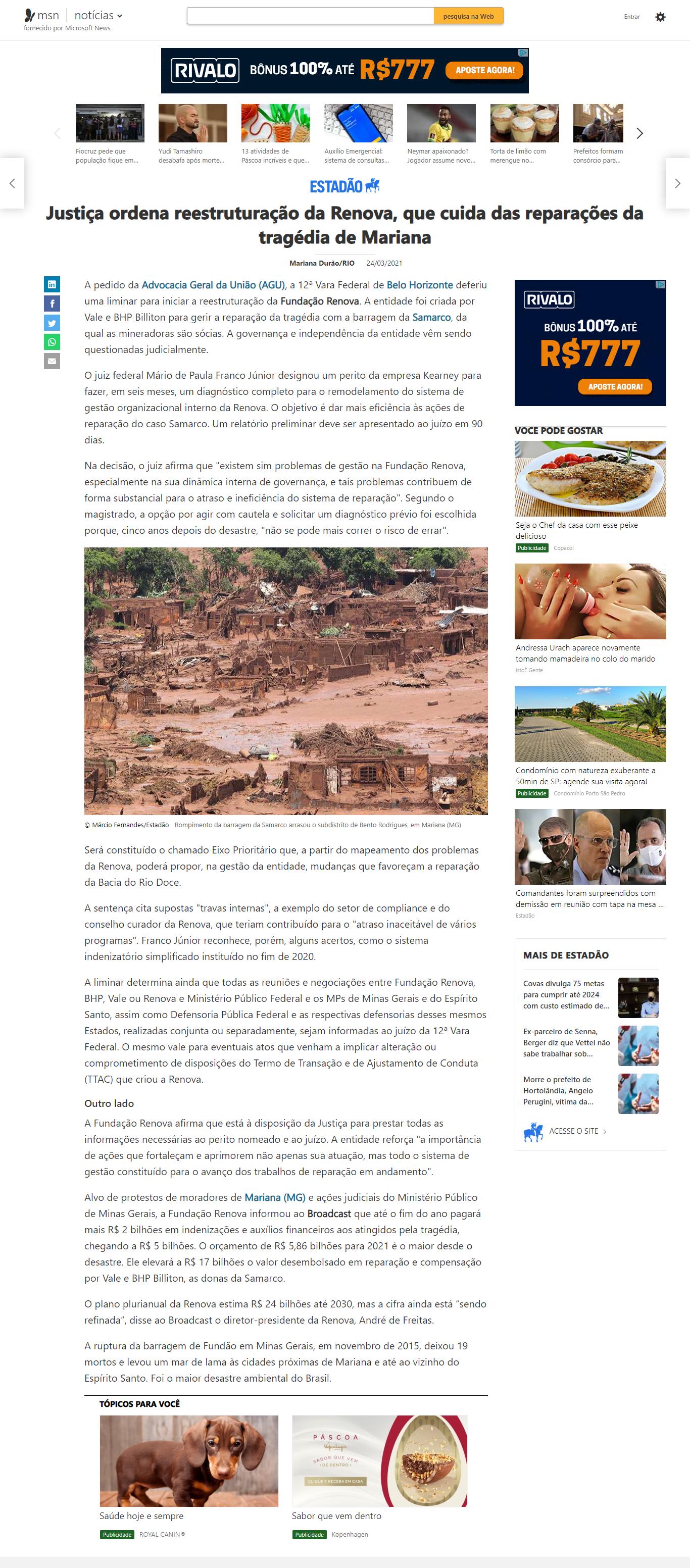 Justiça ordena reestruturação da Renova, que cuida das reparações da tragédia de Mariana - MSN Brasil