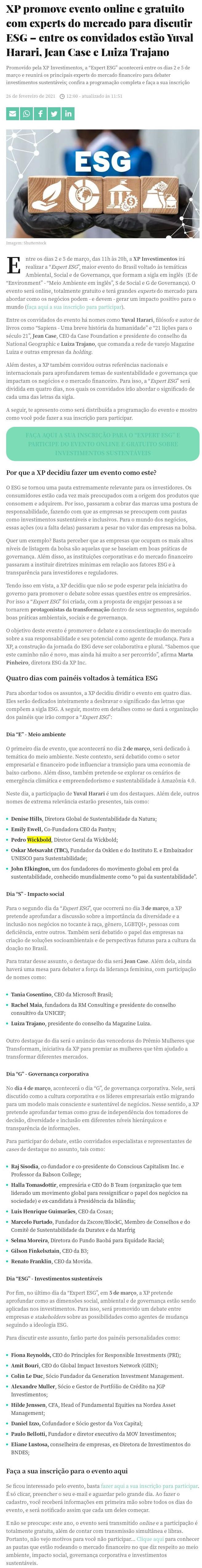 XP promove evento online e gratuito com experts do mercado para discutir ESG – entre os convidados estão Yuval Harari, Jean Case e Luiza Trajano - Seu Dinheiro