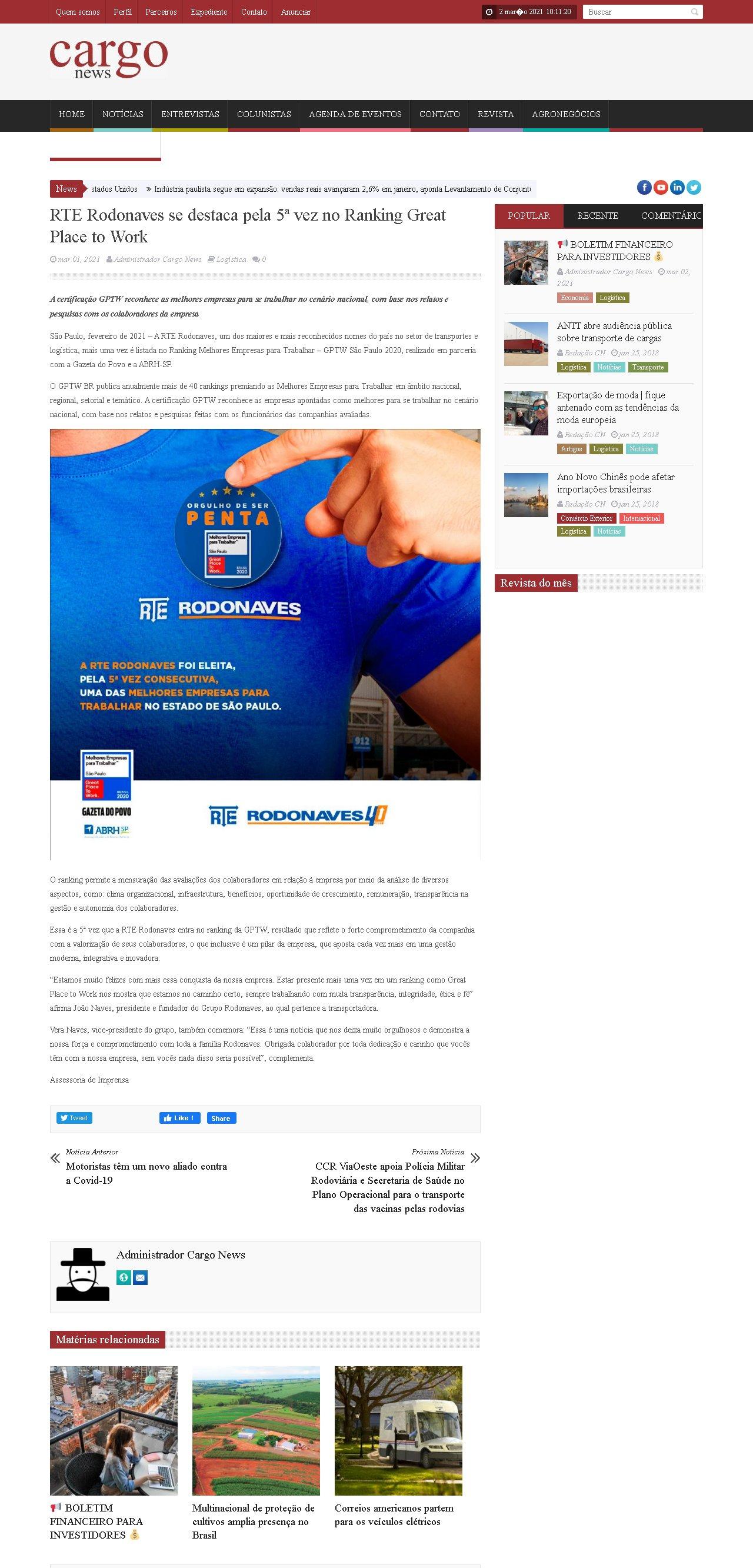 RTE Rodonaves se destaca pela 5ª vez no Ranking Great Place to Work - Cargo News
