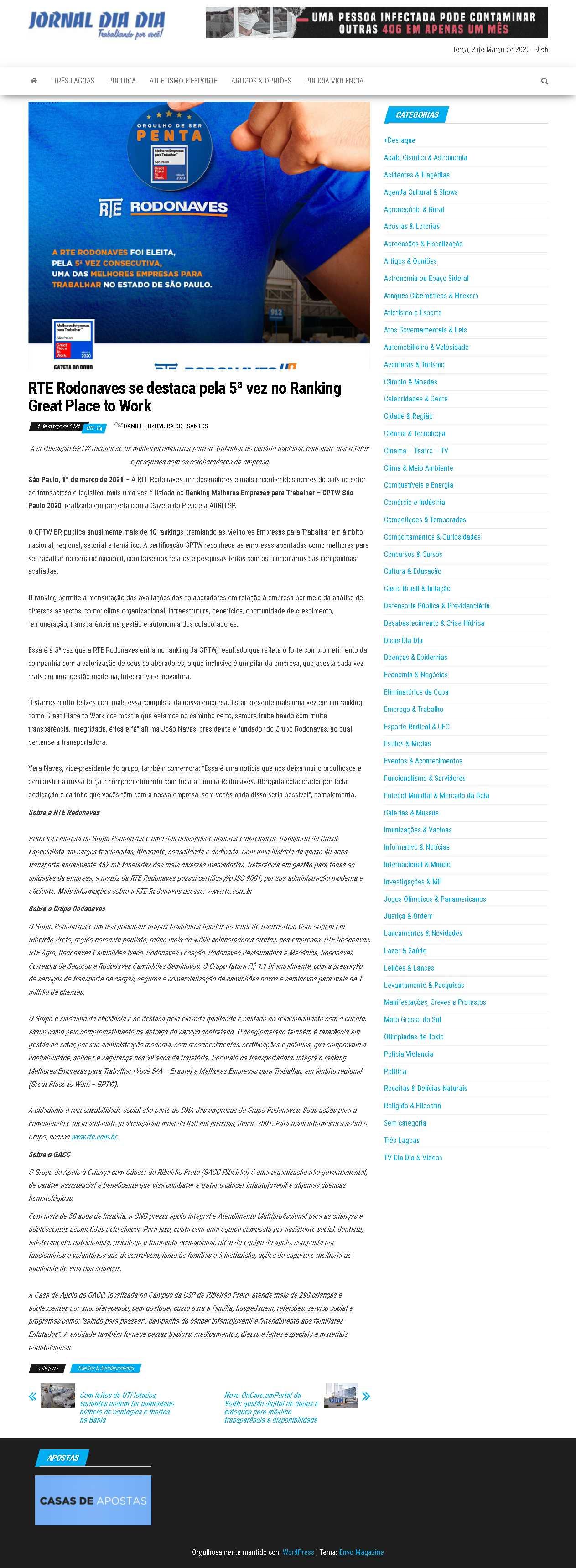RTE Rodonaves se destaca pela 5ª vez no Ranking Great Place to Work - Jornal Dia a Dia