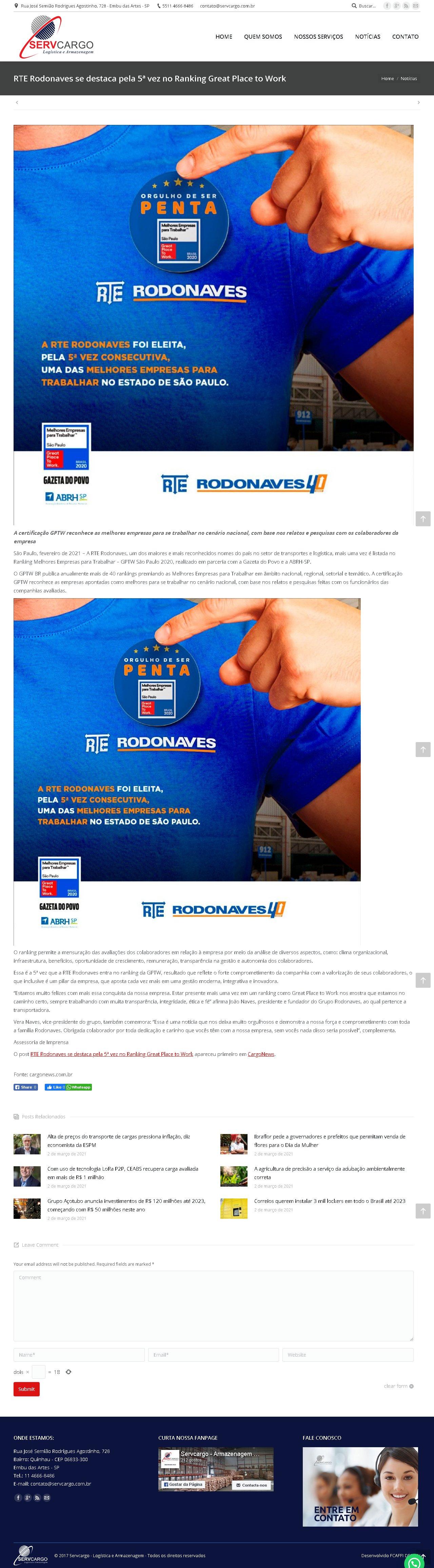 RTE Rodonaves se destaca pela 5ª vez no Ranking Great Place to Work - Servcargo - Logistica e armazenagem