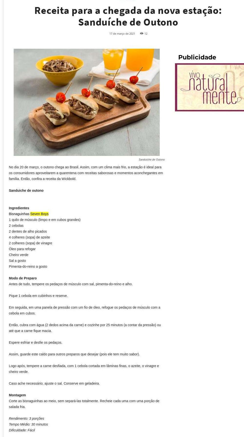 Receita para a chegada da nova estação: Sanduíche de Outono - Comida na mesa