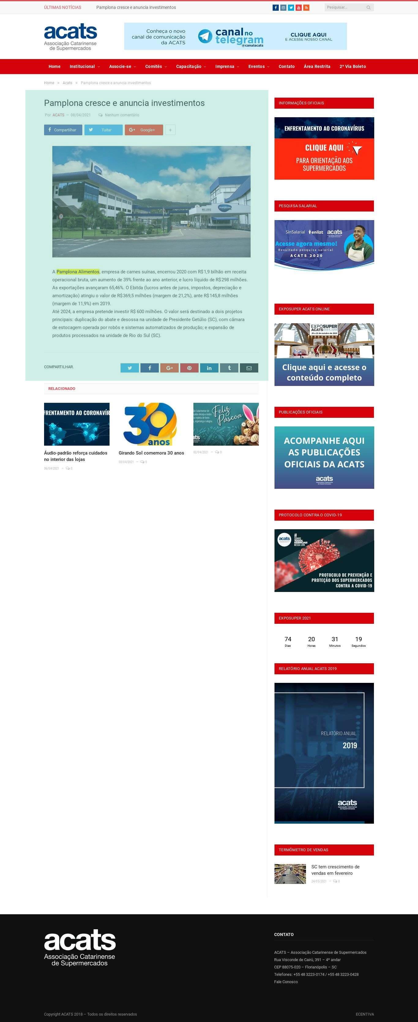 Pamplona cresce e anuncia investimentos - Acats