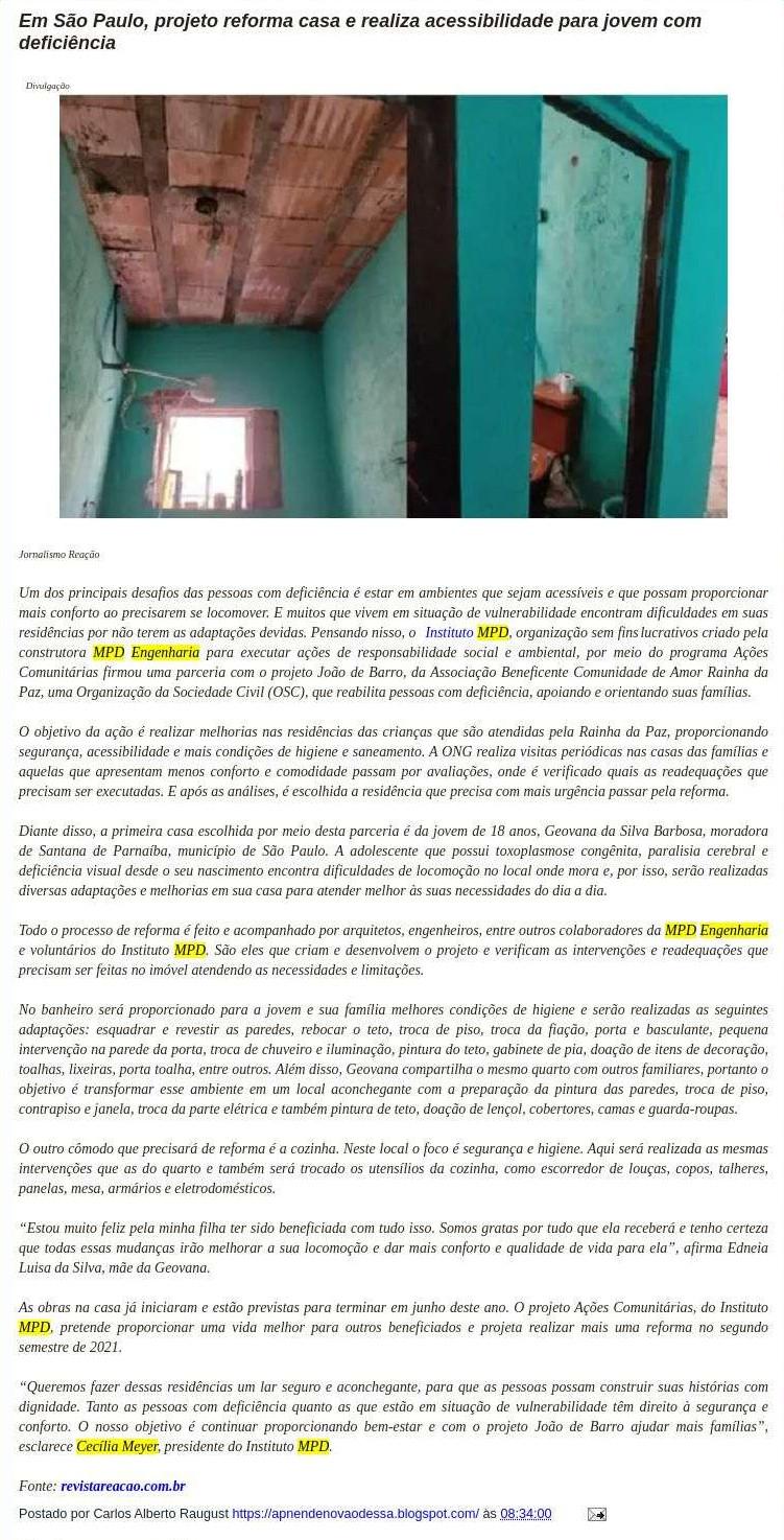 Em São Paulo, projeto reforma casa e realiza acessibilidade para jovem com deficiência - Apnen Nova Odessa