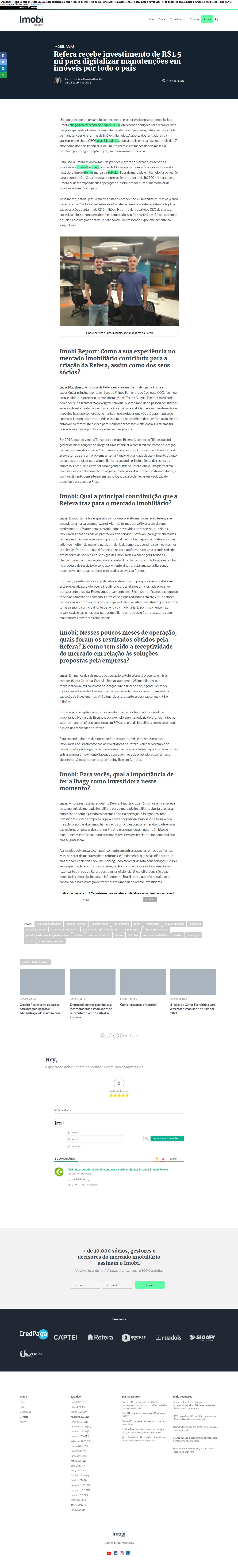 Refera capta R$ 1,5 milhão em investimentos com foco no mercado de reformas e manutenções imobiliárias - Imobi Report