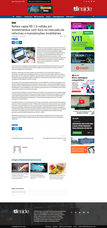 Refera capta R$ 1,5 milhão em investimentos com foco no mercado de reformas e manutenções imobiliárias - TI Inside