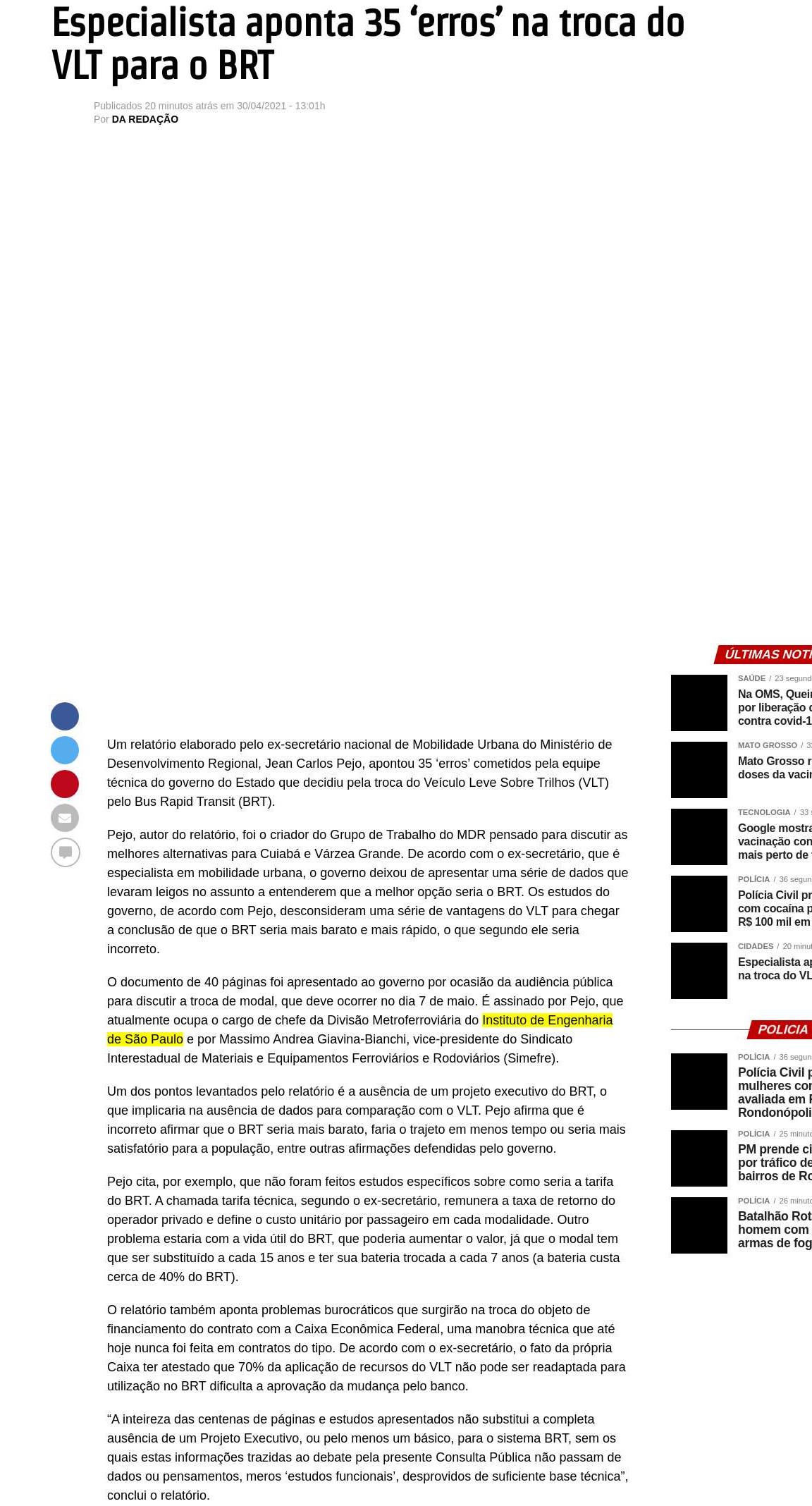 Especialista aponta 35 `erros` na troca do VLT para o BRT - Jornal Página do Estado