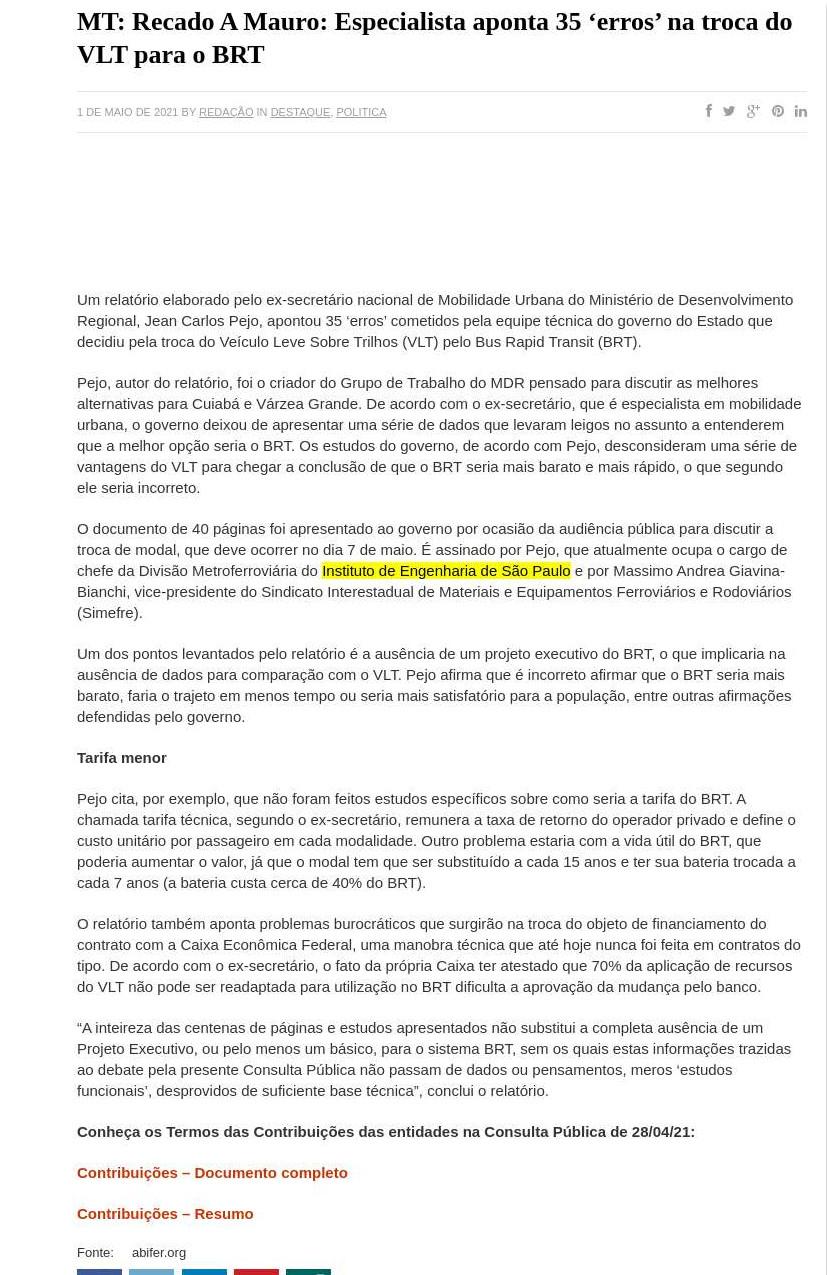 MT: Recado A Mauro: Especialista aponta 35 `erros` na troca do VLT para o BRT - Digoreste Notícias