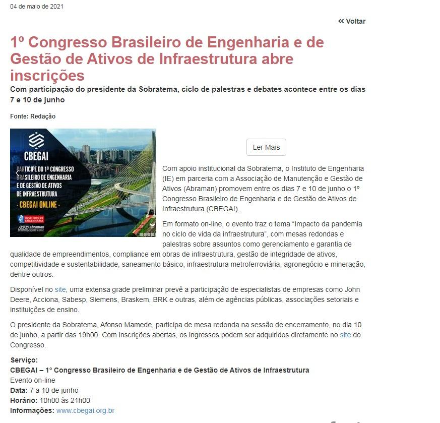1º Congresso Brasileiro de Engenharia abre inscrições - M e T Manutenção e Tecnologia