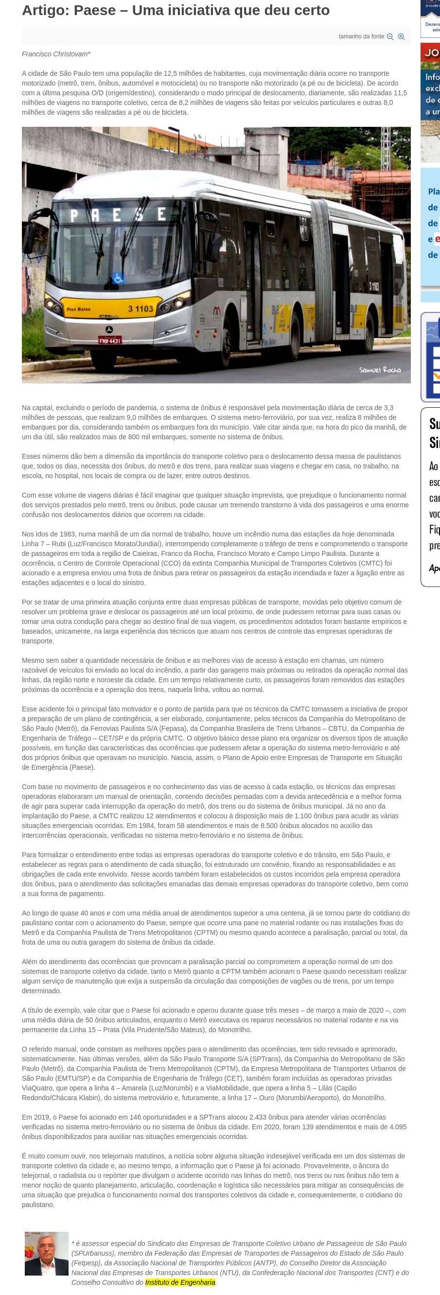 Artigo: Paese - Uma iniciativa que deu certo - SEESP