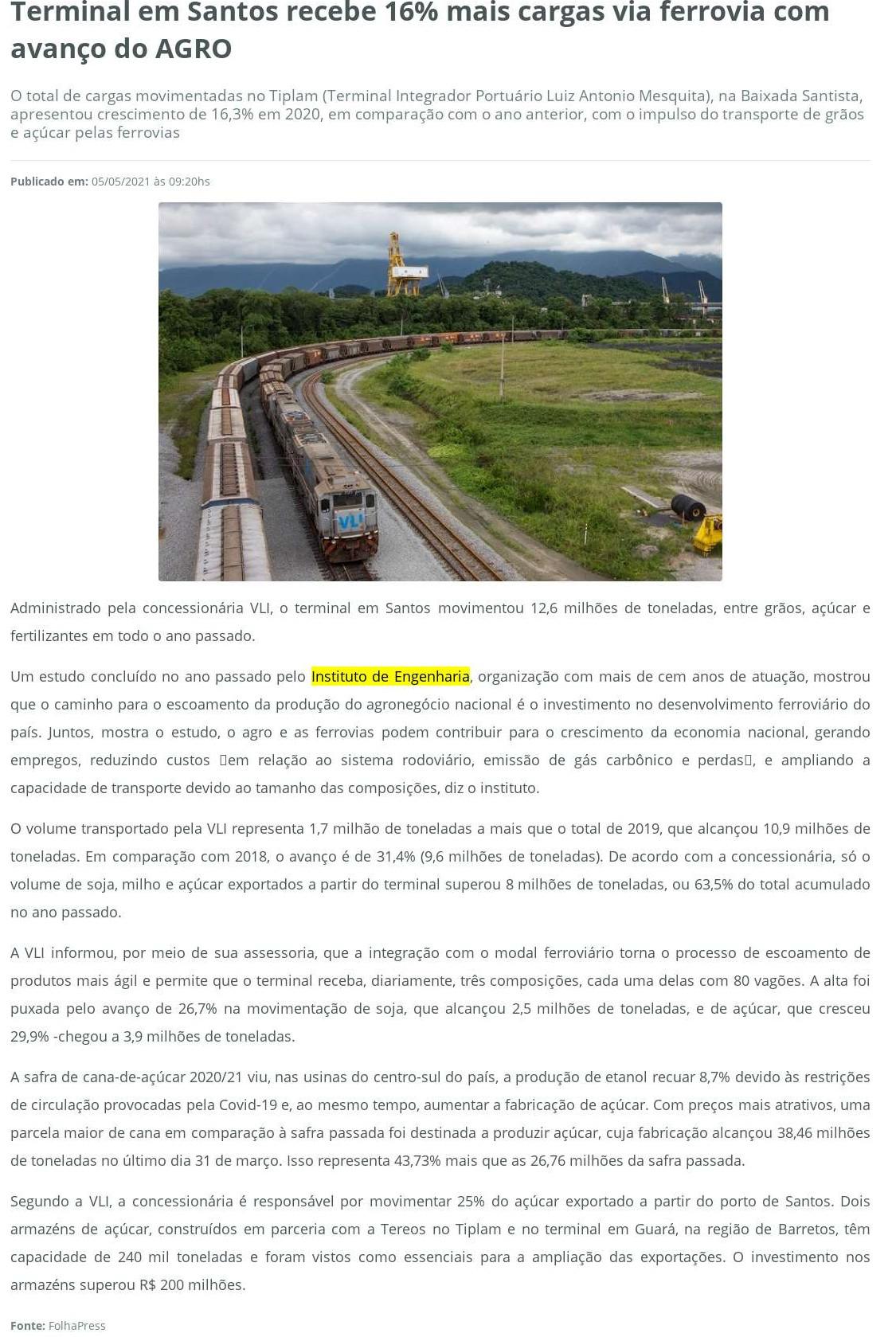 Terminal em Santos recebe 16% mais cargas via ferrovia com avanço do AGRO - Portal do Agronegócio