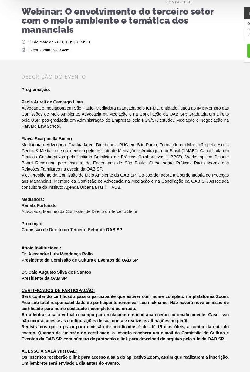 Webinar: O envolvimento do terceiro setor com o meio ambiente e temática dos mananciais - Sympla