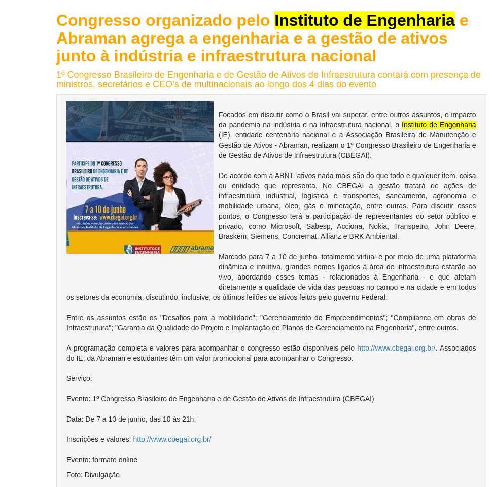 Congresso organizado pelo Instituto de Engenharia e Abraman agrega a engenharia e a gestão de ativos junto à indústria e infraestrutura nacional - BH Eventos