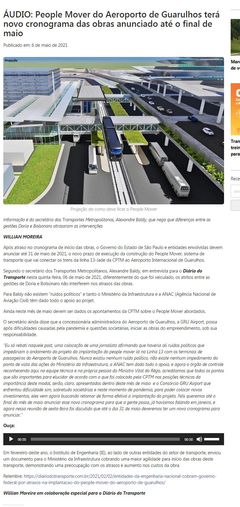 ÁUDIO: People Mover do Aeroporto de Guarulhos terá novo cronograma das obras anunciado até o final de maio - Diário do Transporte
