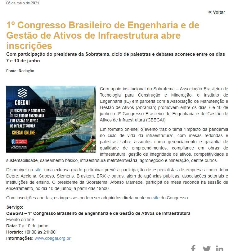 1º Congresso Brasileiro de Engenharia abre inscrições - Grandes Construções