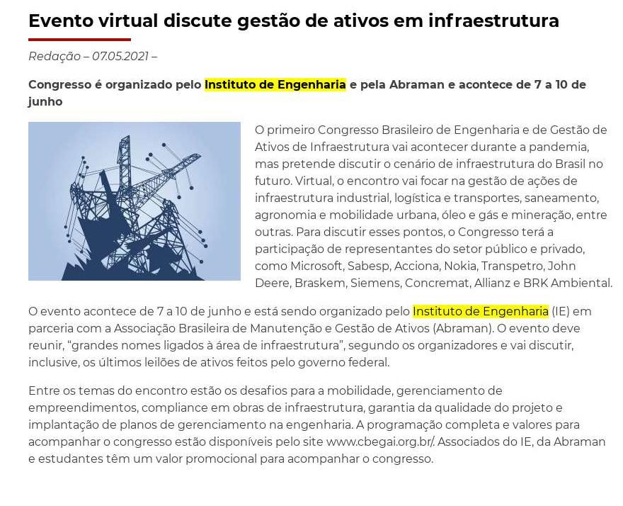 Evento virtual discute gestão de ativos em infraestrutura - InfraRoi
