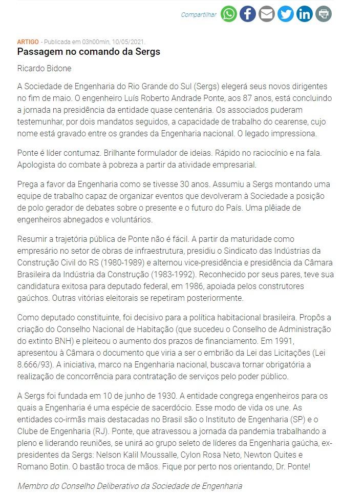Passagem no comando da Sergs - Jornal do Comércio