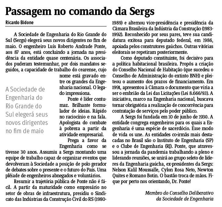 Passagem no comando da Sergs - Jornal do Comércio - Porto Alegre